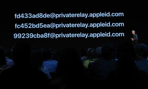 TILFELDIG E-POSTADRESSE: Slik ser adressene innloggingsfunksjonen til Apple kan opprette for deg. Foto: Justin Sullivan/AFP/NTB Scanpix
