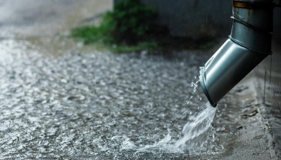 STYRTREGN: Styrtregn kan føre til mye overflatevann, og i verste fall oversvømme kjelleren din. Les hva du bør gjøre før regnet kommer. Foto: NTB Scanpix