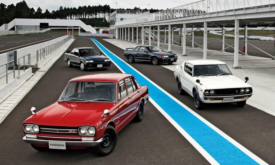 FIRE GENERASJONER: Kanskje ikke de mest linjeskjønne, men som den aller nyeste, har alltid Skyline GT-R sprengt grenser. Foto: Nissan