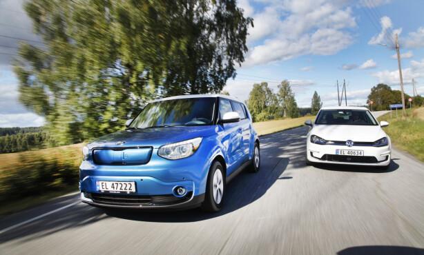 VINNERE: Etter vårt skjønn er Kia Soul Electric og VW e-Golf de to beste bruktkjøpene du kan gjøre på elbil i dag. Foto: Espen Stensrud