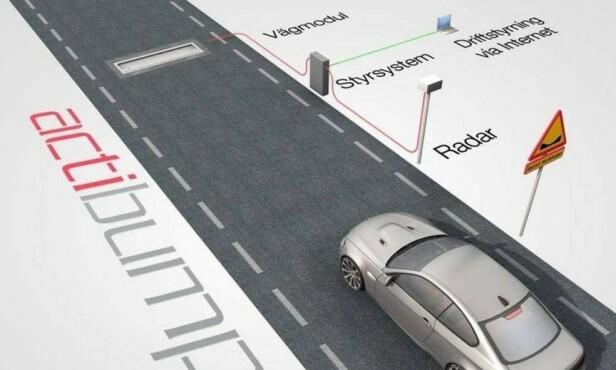 MÅLES MED RADAR: Farten din måles av en radar. Actibump skal bedre trafikksikkerheten på spesielt utsatte steder som ved skoler. Den skaper også bedre flyt i trafikken, noe som minsker støy og forurensning. Illustrasjon: Edeva