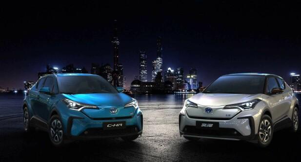 TO NYE: Her er de to elbilene Toyota starter satsningen med: C-HR EV og Izoa. Foto: Toyota