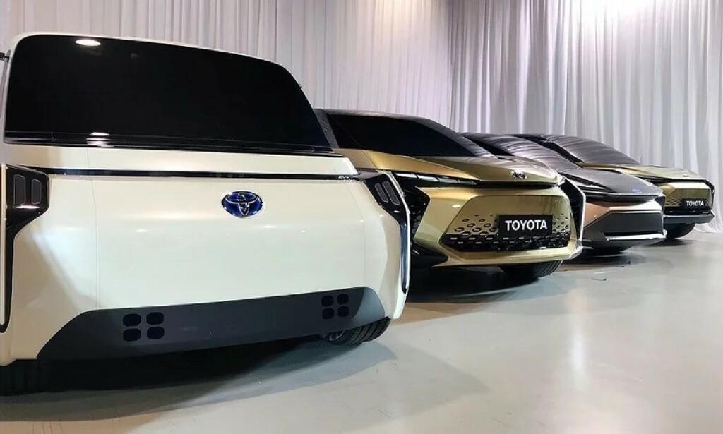 SEKS ELBILER: På den nye elbil-plattformen til Toyota skal det bygges seks forskjellige biler – blant annet en stor og en mellomstor SUV og en mellomstor crossover. Foto: Toyota