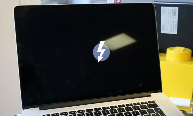 I MÅLDISKMODUS: Når du har satt Mac-en din i måldiskmodus, vil den se omtrent ut som dette. Foto: Kirsti Østvang