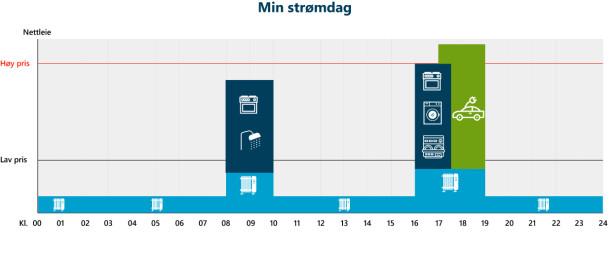 <strong>DAGEN I DAG:</strong> Denne illustrasjonen viser hvordan du sannsynligvis bruker strøm i dag. Foto: Energi Norge/skjermdump.