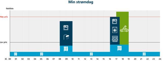 DAGEN I DAG: Denne illustrasjonen viser hvordan du sannsynligvis bruker strøm i dag. Foto: Energi Norge/skjermdump.