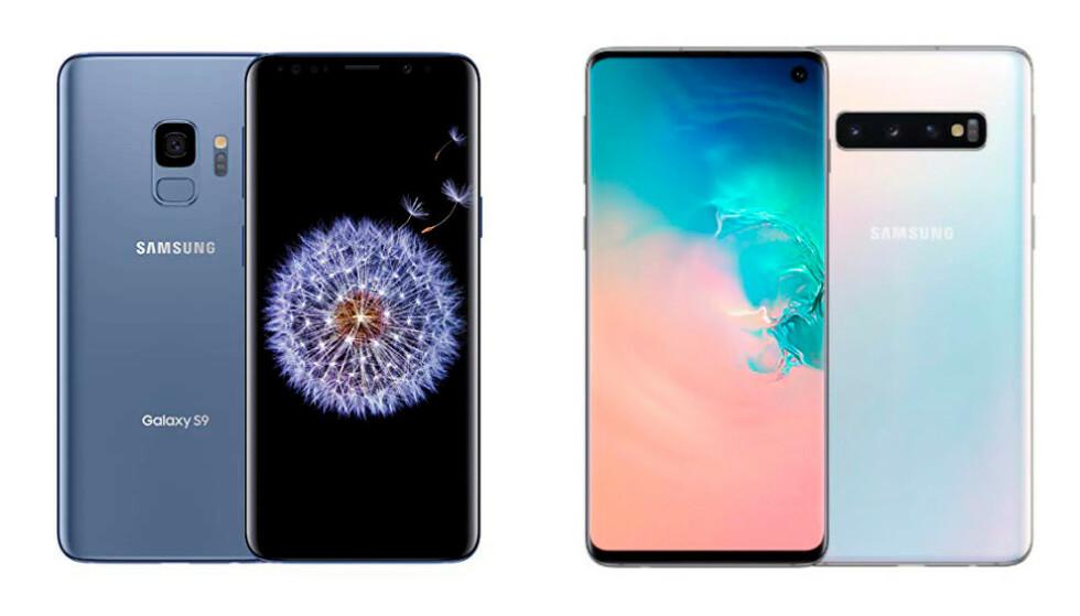 Samsung Galaxy S9 (venstre) og S10 (høyre)