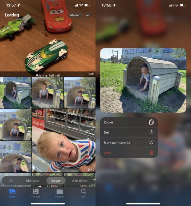 NYE KATEGORIER: Bilder sorteres på en ny måte i iOS 13, med forskjellig størrelse på miniatyrvisningen. Med et hardt trykk på et bilde, får du også opp en ny meny. Skjermbilde: Kirsti Østvang