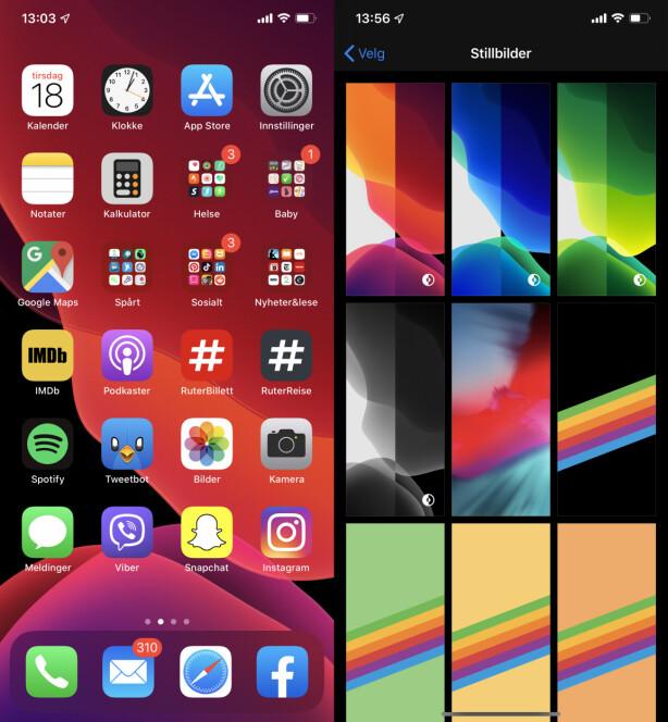 NY DOCK OG BAKGRUNNER: Til og med Dock-linjen nederst på hjemskjermen er mørk. Apple byr også på nye bakgrunner som tilpasser seg etter hvilken modus du bruker. Skjermbilde: Kirsti Østvang