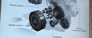 INNOVATIVT: Her viser Renault oss en ny type multimodal girkasse, som håndterer kreftene fra tre motorer - en bensinmotor og to elektriske. Foto: Knut Moberg
