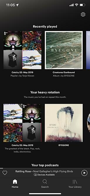 NY PLASSERING: Nylig avspilt musikk finner du nå fra hovedsiden i Spotify. Foto: Kirsti Østvang
