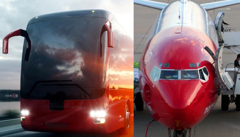BUSS VS FLY: Vi reiste samme strekning - med buss og fly. Se hvordan det gikk. Foto: Rex Shutterstock / NTB Scanpix
