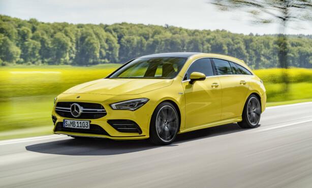 GUL OG KUL: En CLA 35 i AMG-versjon vekker oppmerksomhet om du velger kyllingfargen. Foto: Mercedes-Benz