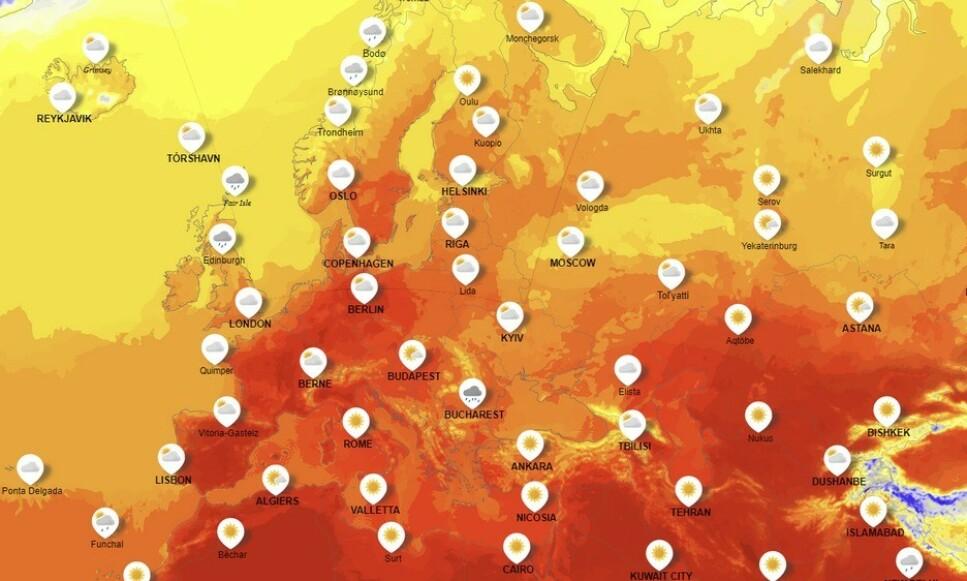 BLIR HETT: Hetebølgen som er på vei til Europa skal begynne i Spania og bevege seg vestover. Det er ventet temperaturer fra 35 til 40 grader. De mørkerøde områdene illustrerer veldig høy varme. Foto: Yr.no.