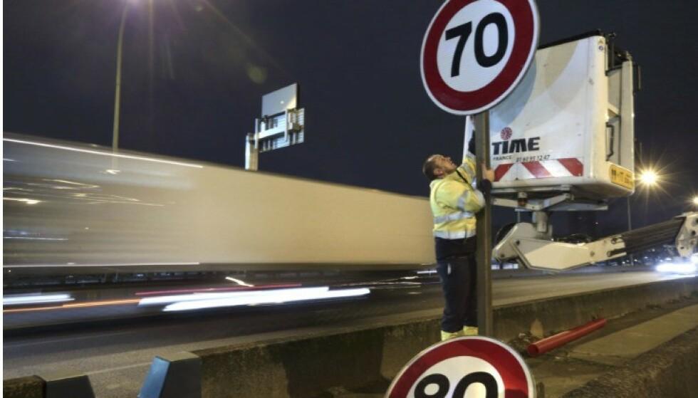 OGSÅ I FRANKRIKE: På veien rundt Paris ble fartsgrensen satt ned fra 80 til 70 km/t for flere år siden. Foto: Scanpix