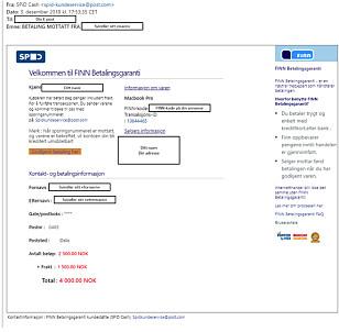 Et eksempel på «kvitteringen» svindleren sender. Trykk for stor utgave. Foto: Finn