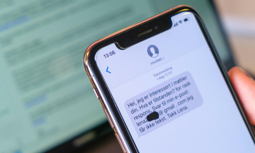 FINN-SVINDEL: Et typisk eksempel er at svindleren tar kontakt på SMS og ber deg svare på e-post. Foto: Martin Kynningsrud Størbu