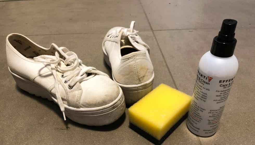 UTSTYR: Eier du hvite sneakers, bør du også ha egnet utstyr stående slik at du kan vedlikeholde fargen på dem. Foto: Linn Merete Rognø.