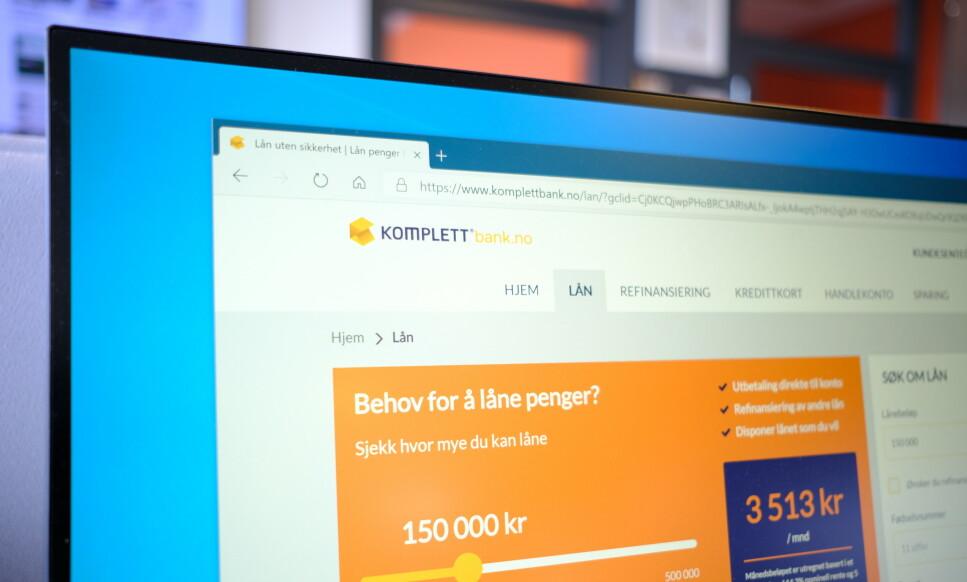 ILAGT GEBYR: Komplett Bank er ilagt et gebyr på 18 millioner av Finanstilsynet. Foto: Martin Kynningsrud Størbu