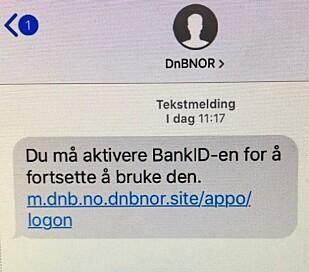 Et eksempel på hvordan svindel-SMS-en kan se ut. Foto: DNB