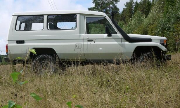 KLASSIKER: Denne bilen er en 1986-modell Afrika-Land Cruiser BJ75 (70-serien) med 3,4-liters dieselmotor på 122 hester.