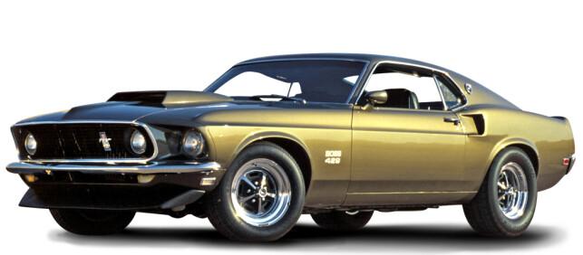 NASCAR-BIL: 1969 og 1070 Mustang Boss 429.