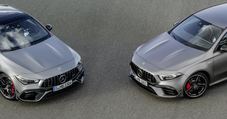 TØFF TØFFERE: For første gang ser vi den nye AMG-grillen på A-Klasse. Svære luftinntak i fronten, louvrer på panseret både på kombi og kupé, samt ekstra breddinger på skjermen, gjør AMG 45 til en av de tøffeste i gata. Men det er motor og drivverk som er rosinen i pølsa. Foto: Mercedes