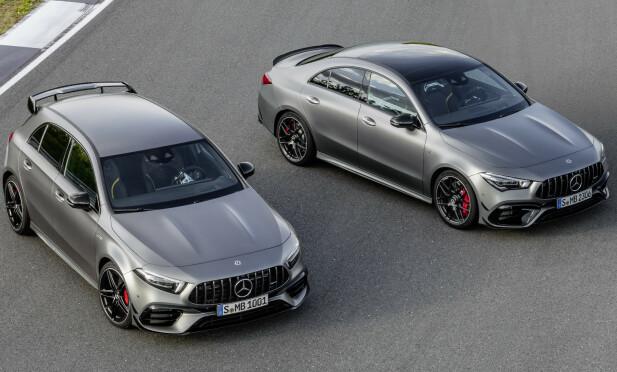 AMG FOR FLERE: Med det omfattende spekteret av AMG-varianter av Mercedes sin minste modell, blir det lettere å introdusere AMG for folket. Det starter med A 35 og CLA 35 og fortsetter med A 45, A45 S, CLA 45 og CLA 45 S. Vi tipper Shooting Brake kommer i tre versjoner også, altså tilsammen 9 varianter.