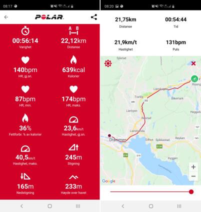 Fra venstre: oppsummering sykkeltur til Asker og kartvisning reise motsatt vei.