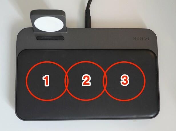 LADESONER: Skal du lade to enheter, må du legge de på 1 og 3, mens om du skal lade bare én, kan du legge den på 2. Foto: Kirsti Østvang