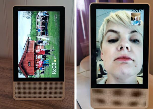 STÅENDE: Kjekt til videosamtaler, men hvorfor roteres ikke resten av grensesnittet, Google? Foto: Pål Joakim Pollen