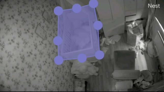 SONER: Her har vi laget en egen sone for senga, så om det blir bevegelse innenfor dette polygonet, blir vi varslet om det. Det fordrer imidlertid at du abonnerer på Nest Aware. Foto: Pål Joakim Pollen