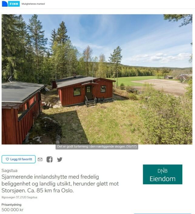 INNLAND: Denne romslige hytta på 69 kvadratmeter ligger i Nord-Odal, som er et område der det finnes mange rimelige hytter. Den kan by på innlagt vann og strøm, fjordgløtt og tre soverom. Faksimile: Finn.no