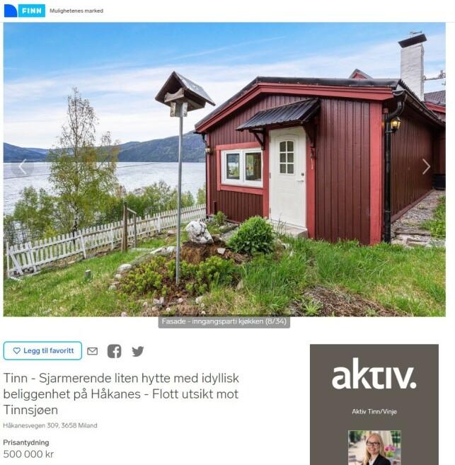 UTSIKTSTOMT: Ved Tinnsjøen i Telemark kan du få denne hytta for 500.000 kroner. Den har innlagt strøm, men ikke vann. Størrelsen er 64 kvadratmeter og den har to soverom. Faksimile: Finn.no