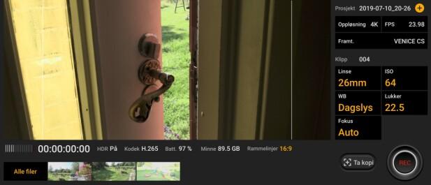 AVANSERT: Du kan lage ganske avanserte videoer med den medfølgende appen Cinema Pro. Skjermbilde: Pål Joakim Pollen