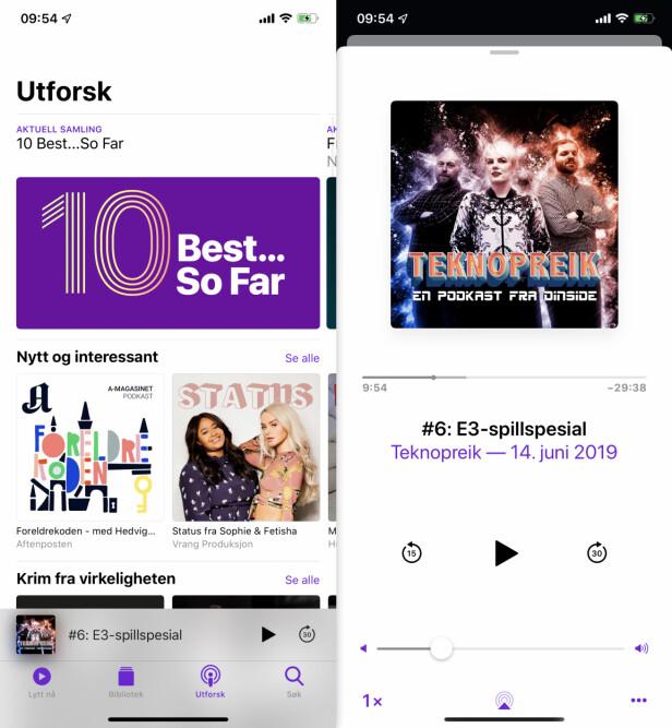 FLERE FANER: Apples Podkaster-app er ganske enkel å forholde seg til, med ulike faner for dine podkaster og en egen podkast-«butikk».