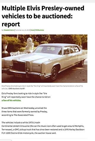 TIL SALGS: Ifølge auksjonshuset Kruse GWS Auctions selges nå denne tidligere Elvis-limousinen. Faksimile: Fox Business