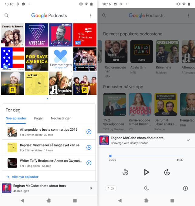 ALT I ETT: Google har samlet all funksjonaliteten på ett sted i sin podkast-app. Skjermbilde: Kirsti Østvang