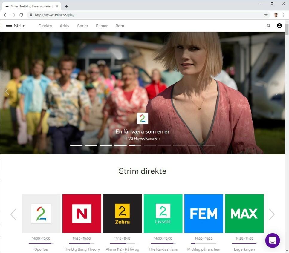 100 PROSENT INTERNETT: Strim er en TV-pakke som kun finnes på internett. (Skjermdump)