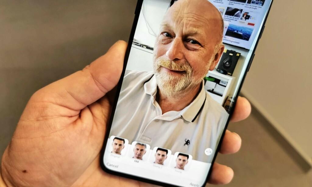 GJØR DEG GAMMEL: Faceapp går sin seiersgang - igjen. Men nå har folk blitt langt mer skeptiske til å bruke den. Foto: Pål Joakim Pollen