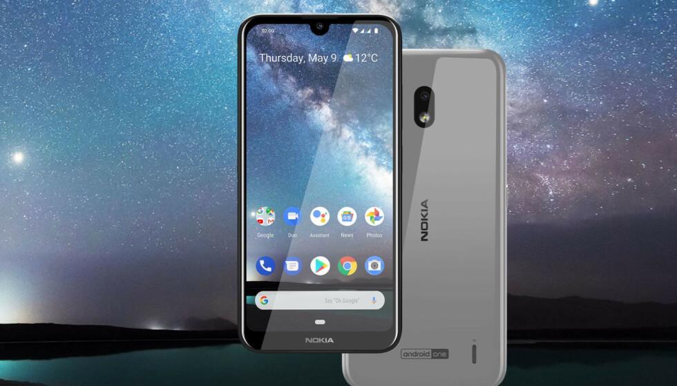 1400 KRONER: Med Nokia 2.2 har HMD nok en gang tatt et dykk inn i fortiden, med batteri som kan byttes i en håndvending. Foto: HMD