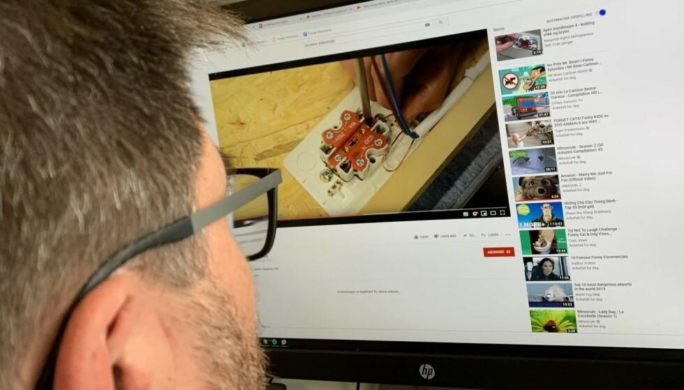 LYNLÆRING: Youtube er et gigantisk kunnskapsbibliotek for deg som vil løse praktiske oppgaver selv, men det er noen ting du bør holde deg unna. Foto: Bjørn Eirik Loftås