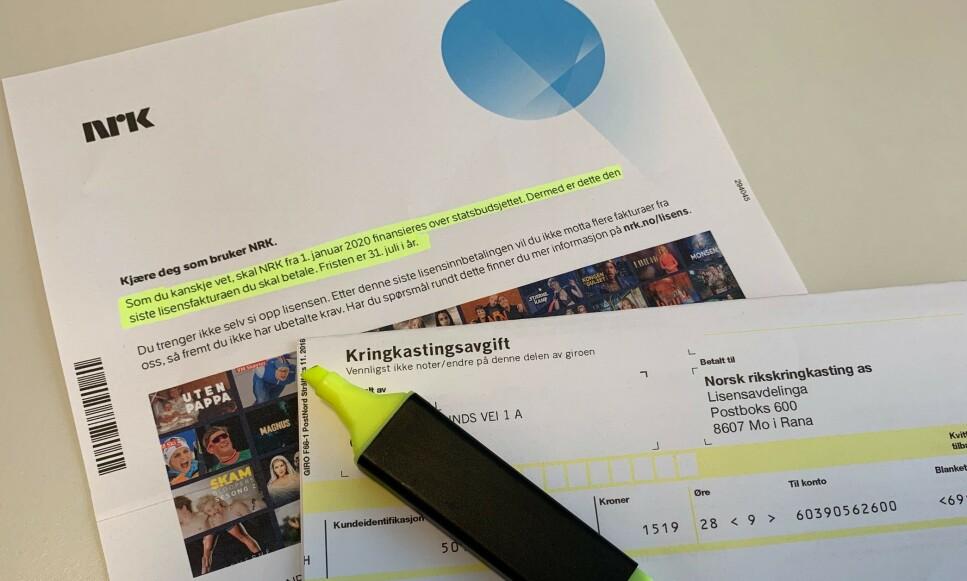 ÉN BETALING GJENSTÅR: Etter at du har betalt NRK-lisensen for perioden 1. juli til 31. desember 2019, trenger du ikke å tenke på denne regninger igjen noen sinne. Foto: Eilin Lindvoll.
