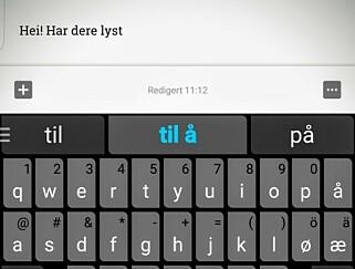 GJETTER: Swiftkey er blant tastaturene du kan laste ned, som gjetter hva som er neste ord du skal skrive. Dermed kan skrivingen gå raskere. Selv om dette er en relativt trygg løsning, har også Swiftkey blitt utsatt for datainnbrudd. Foto: Pål J Pollen