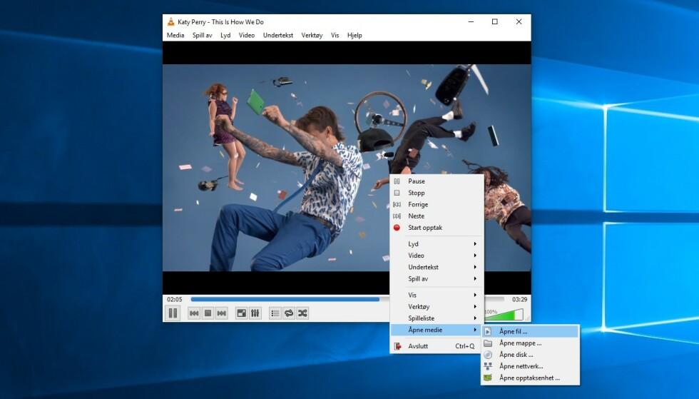 POPULÆR: VLC har i mange år vært blant de aller mest brukte mediespillerne til PC. Nå advarer sikkerhetsselskap mot bruk, fram til en sikkerhetsfiks er på plass. (Skjermdump)