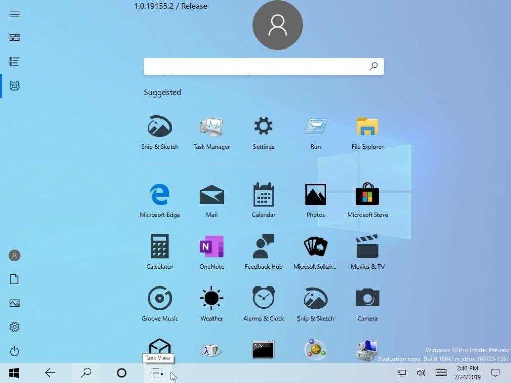 INGEN FLISER: Den nye startmenyen (her i nettbrettmodus) er helt fri for de velkjente flisene som har fulgt med Windows i mange år. (Skjermdump)