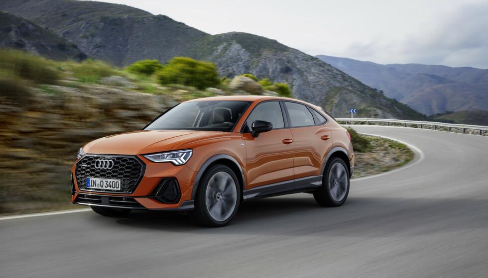 IKKE KJEDELIG: Audi har blitt kritisert for forutsigbar design på grensen til det kjedelige, men et slikt omdømme kan slike modeller bidra til å gjøre til skamme. De synlige hoftelinjene ovenfor hjulbuene, kjet fra den vanlige Q3-modellen, er ekstra kledelige i kombinasjon med coupé-fasongen på Sportback-varianten, synes vi. Foto: Audi