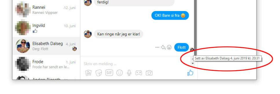 AVSLØRENDE: Messenger gir automatisk kvittering på at en melding er lest. Det er ikke mulig å endre i innstillingene, men denne utvidelsen til Chrome fikser biffen. (Skjermdump)