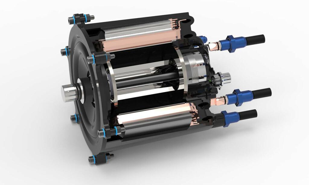 STATOR: Kjernen i den elektriske motoren er en stator som består av tolv individuelle tenner, som er viklet loddrett ved hjelp av en flat ledning. Foto: Fraunhofer Institut