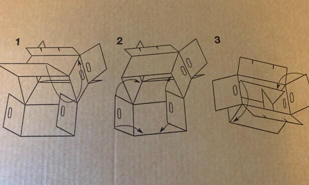 BILDE FOR BILDE: Slike enkle illustrasjoner som viser hvordan eskene skal bygges var på alle flytteeskene vi testet. Foto: Eilin Lindvoll.